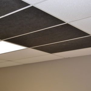 black ceiling tiles installed
