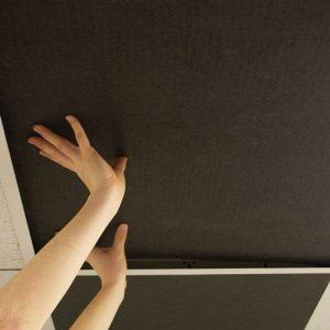 black ceiling tiles installing